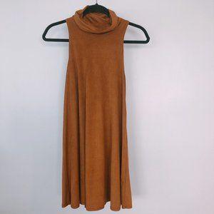 Camel Brown Faux Suede Mock Turtleneck Dress S